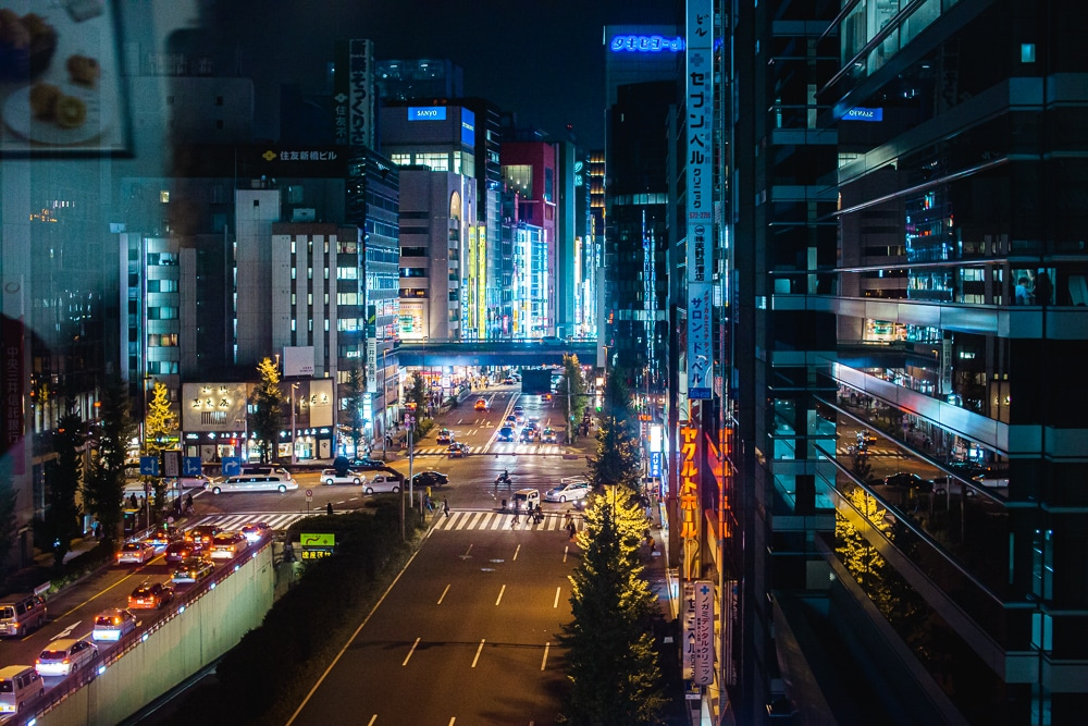 tokyo subway street at night neon cyberpunk